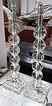 TABLE LAMPS, a pair, Art Deco crystal style, ball columns, 55cm H. (2)