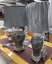 TABLE LAMPS, a pair, mosaic mirrored glass finish stands, with satin shades