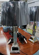 TABLE LAMPS, a pair, column style, in chromed metal finish with shades, 90c