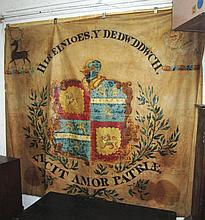18TH/19TH CENTURY WALL HANGING, 222cm x 245cm, with armorials and mottos po