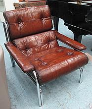 EASY CHAIRS, a pair, vintage tan leather on tubular chrome frame. (2)
