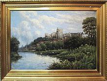 JAN VAN COUVER, 'Windsor Castle', oil on canvas, 92cm x 68cm, framed.