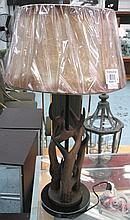 TABLE LAMPS, a pair, faux horn with leather shades, 78cm H. (2)