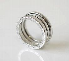 BULGARI, B. Zero 1 ring, three band, 18K white gold, marked 750, 5.5, signe