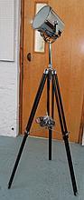SPOTLIGHT, in chromed metal on extendable tripod support, 160cm H.