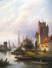 MANNER OF PETRUS GERARDUS VERTIN (Dutch, 1819-1893), 'Canal View with Figur