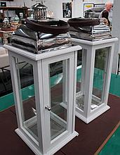 STORM LANTERNS, a pair, square painted wooden frame, with chromed metal top