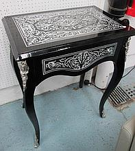 SIDE TABLE, boulle style black and silvered inset with drawer below, 60cm x
