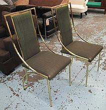 DINING CHAIRS, a set of ten, green upholstery and brass frames. (10)