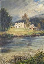 JOHN MACWHIRTER RA (Scottish, 1839-1911), 'Abbotsford House', oil on board,