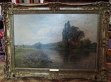 HENRY J. KINNAIRD (British, 1861-1929), 'On the Thames at Goring', oil on c
