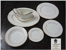 WEDGWOOD 'CALIFORNIA' DINNER SERVICE, twelve place setting, white with gold