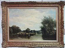 ATTRIBUTED TO THOMAS CRESWICK, 'Riverside Landscape with Barges and Figures