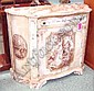SERPENTINE SIDE CABINET, Italian style, painted with classical scenes, 104cm wide.