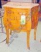 COMMODES, a pair, Louis XV style maple, sandstone tops, 65cm W. (2)