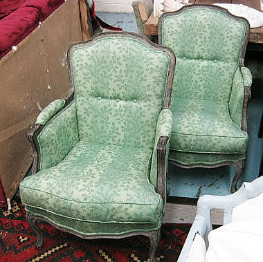 BERGERES, a pair, with grey showframes and green