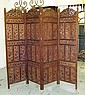 SCREEN, Indian teak of four leaf carved and