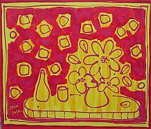 NINA NOLTE, 'Still life', oil on canvas, 100cm x 120cm, signed.