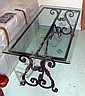 LOW TABLE, rectangular glass top, on scrolling