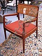 DINING CHAIRS, a set of seven, with arms, teak and