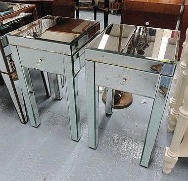 BEDSIDE TABLES, a pair, mirrored with single
