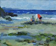 PRUE SAPP (1928-2013), 'Seascape', oil on board,