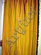 CURTAINS, a pair, gold silk, with green velvet
