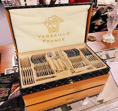 CUTLERY SET, Versaille France, cased, enclosing a
