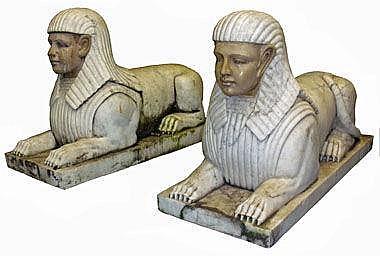 SPHINXS, a pair, marble, 100cm L x 40cm x 65cm H.