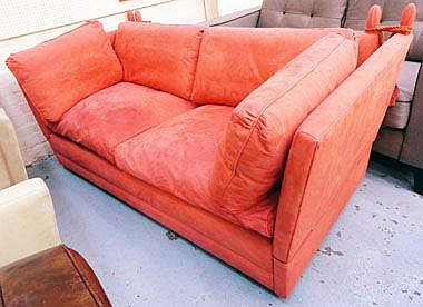 KNOLE SOFA, with a salmon coloured suede effect