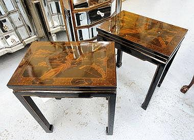 SIDE TABLES, a pair, black lacquer, Chinese