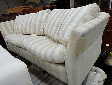 SOFA, large two seater, in beige and white striped