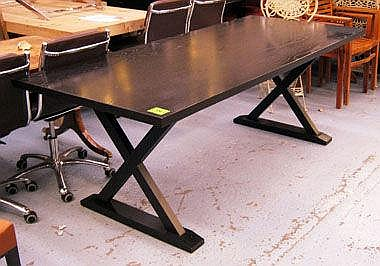 DINING TABLE, black ash with X framed base from
