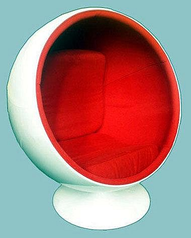 EGG CHAIR, red fabric in cream resin frame, Eero