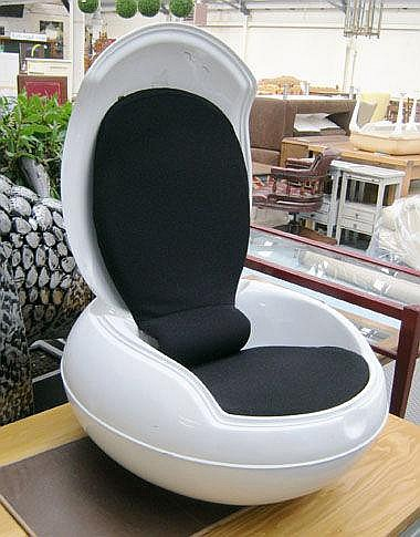 EGG CHAIR, with black fabric in a white elliptical
