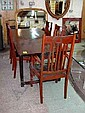 DINING TABLE, French Farmhouse style in fruitwood; plus a set of five dining chairs including one carver, 209cm x 91cm. (6)