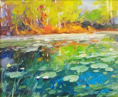 YURI KUCHINOV, 'Lily pond', oil on canvas, 25cm x