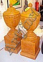 LIDDED URNS, a pair, reconstituted stone,