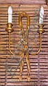 WALL LIGHTS, seven matching, twin light with bow