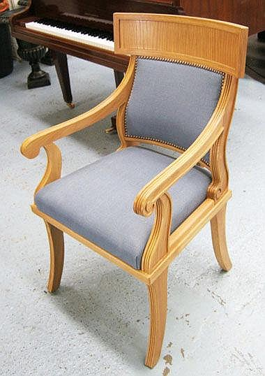 GEORGE SMITH ARMCHAIRS, a pair, with blue padded