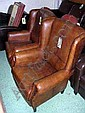 LIBRARY CHAIRS, a pair, in brown leather, 85cm W. (2)