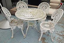 GARDEN CHAIRS, a set of four, white painted metal