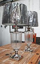 TABLE LAMPS, a pair, urn shaped, in glass with chr