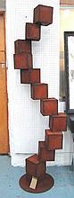 ABSTRACT GARDEN SCULPTURE, of a cubic tower, welde