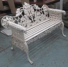 COALBROOKEDALE STYLE BENCH, cast iron of oak and i