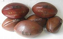 RUGBY BALLS, six vintage style leather examples th