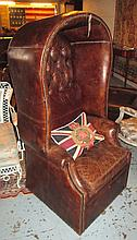 PORTER'S CHAIR, in buttoned brown leather with Uni