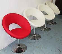 SWIVEL CHAIRS, a set of four, three upholstered in