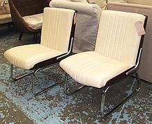 EASY CHAIRS, a pair, Gordon Russell style, in crea
