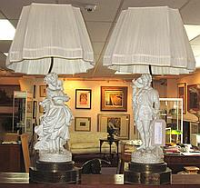 PARIAN TABLE LAMPS, a pair, modelled as a man and